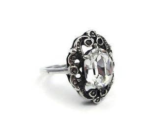 Art Deco Sterling Crystal Ring - Foil Back, Glass Stone, Art Deco Style, Vintage Ring, Sterling Ring, Fake Diamond Ring, Size 5.25