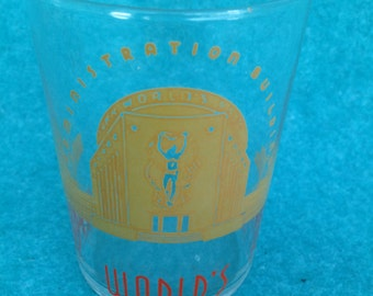 """1939 1940 New York World's Fair Short Wide Water Glass 3 3/4"""" Administration Building"""