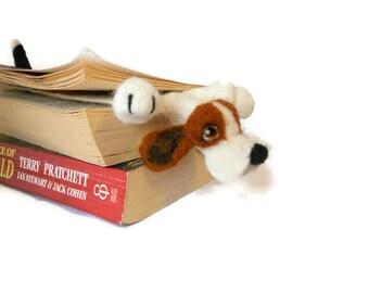 Splat - Basset hound bookmark - needle felted plushie puppy