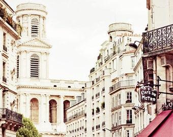 Paris art print, Paris photography, Paris Cafe, large travel photography, large photography - Rue De Rennes