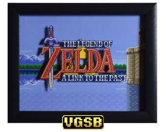 Legend of Zelda Shadowbox - Title Screen - SNES - Super Nintendo - 3D Shadow Box Glass Frame - 12x10 - Christmas Gift - Retro Game Decor