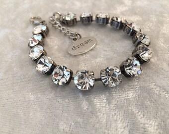 8mm swarovski crystal bracelet- crystal, wedding jewelry- bridesmaids- wedding jewelry- white bracelet