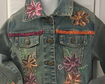 Decorated girls' Denim  Jeans Jacket 6T -