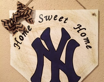 New York Yankees sign, home plate sign, New York Yankees home sweet home sign, new york yankees decor, yankees gift, yankees fan, home sweet