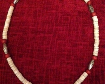 White Heishi Shell Necklace with Red and Metal accents