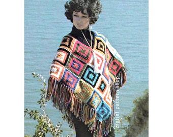 Crochet Poncho Pattern Womens Vintage Poncho & Tote Bag Crochet Pattern Colorful Squares Poncho DIY Instant Download PDF - C112