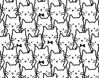 Camelot Fabrics - Meow - Cat Cluster - White - Fabric by the Yard 21170104-1