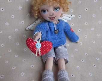 Rag Doll, Angel Doll, textile Doll, Handmade doll,Gift to the child, Child angel
