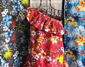 Girl's dress Hawaiian, Tropical Print, one shoulder, cruise, vacation