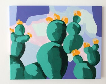 "Acrylic on canvas ""Cactus II"" 40 x 50 cm Modern Art modern style acrylic original abstract painting on canvas cactus succulents Phoenix"