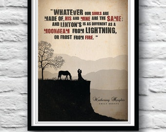 Wuthering Heights, Literature Poster, Quote poster, Wall Decor, Emily Bronte, Minimalist, Quote art