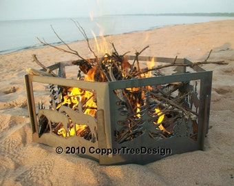 Fire Pit Decorative Portable Metal - Horse & Forest
