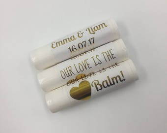 SETS OF 10+ | Gold Foil Personalised Wedding Lip Balms