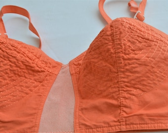 """Vintage 50's  Bullet Bra,Band size 34 """" cup B,Circle Stitched,Torpedo,Sears Roebuck Co of Hong Kong,Pointy ,Hand Dyed Orange"""