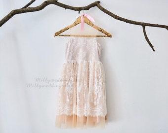 Champagne  Lining Ivory Lace Flower Girl Dress Wedding Junior Bridesmaid Dress M0024