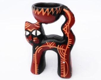 Clay cat candlestick, Vintage Cat Décor , clay cat figurine,  cat collection, cat Collectible, cat Décor, cat Home  Decor
