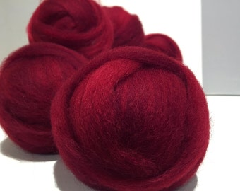 Deep Red wool roving, Needle Felting Spinning wool, Christmas red, primary red, blood red blue red