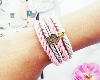 Muffin For You - Bracelet with gold cupcake charm cords ropes pink muffin golden