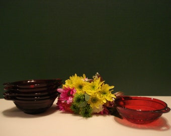 6 - Royal Ruby Berry Bowls - Coronation Pattern by Anchor Hocking