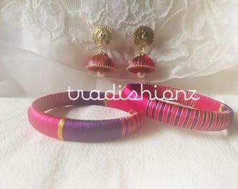 Pretty Purple and Magenta Silk Thread Bangles with Antique Peacock Designer Jhumka