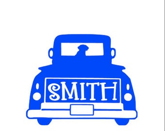 Personalized Old Truck  Vinyl Decal