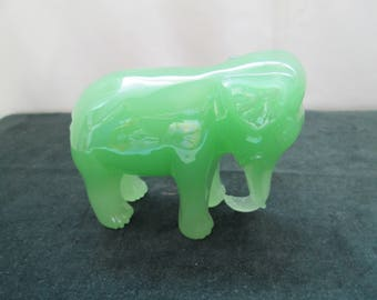 Green Glass Elephant from 1960's