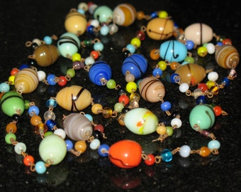 Vintage Colorful Lampwork Glass Bead Long Necklace 49 inch