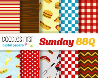 Sunday BBQ Digital Paper Pack Includes 10 for Scrapbooking Paper Crafts