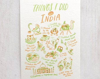 Things I Did in India Letterpress Postcard