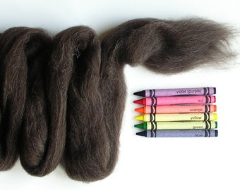 CORRIEDALE WOOL ROVING / Dark Undyed Natural 1 ounce / corriedale wool for needle felting, animal hair, animal fur, spinning, weaving