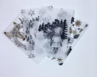 Winter girl Vellum travellers notebook dashboard, fox and owl tn dashboard, black and white vellum dashboard, Christmas