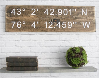 Longitude Latitude Sign - GPS Coordinates Wood - Personalized Wood Home Wall Décor