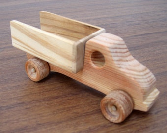 Mini wooden toy truck - natural finished eco-friendly toy for toddlers and kids
