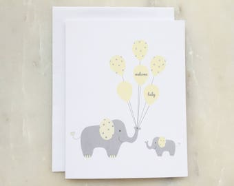 New Baby Card - Welcome Baby Card, Baby Card, Newborn Card, Elephant Card, Baby Shower Card, Expecting Card, Gender Neutral Card