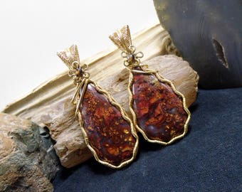 Cut From The Same Stone Agate Wire Wrapped Stone Brass Pendant Matching Pair Set