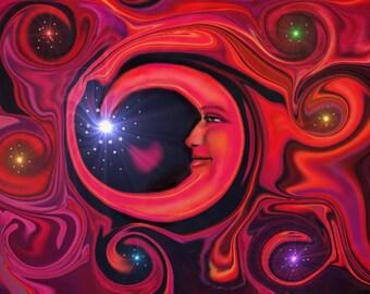 "Red Chakra Art Wall Decor, Moon Energy Art Print, Reiki Swirl 'Red Moon at Night"""