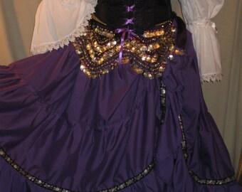 DDNJ Choose Fabrics Renaissance Corset Style Underbust Bodice Chemise Skirt 4pc Plus Custom Any Size Gypsy Medieval Witch Pirate Costume SCA