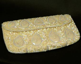 Yellow Bead and Sequin Evening Bag Clutch Purse,  Beige Glittery Purse, Vintage 1970s