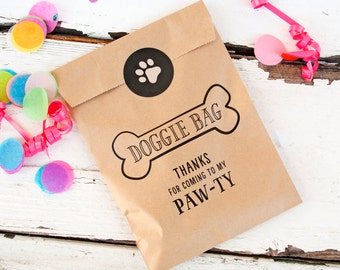 Doggie Bag - Kraft Paper Favor Bags - Kids and Puppies Birthday - Candy Bag - 10 Kraft Bags