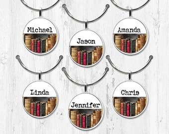 Book lover wine charm set Book club party favor charms Book lover gift custom wine charms name wine charms round personalized wine charms