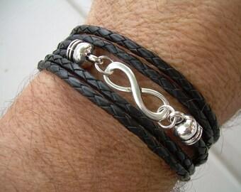 Men Leather Bracelet Infinity Bracelet Triple Wrap Black Braid Men's Bracelet Women's Bracelet Men's Jewelry Women's Jewelry