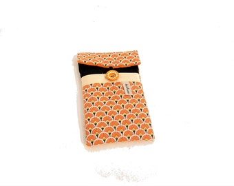 phone case black and orange fans , iphone sleeve in canvas and graphic fabric , padded case for smartphone ,women gift