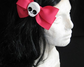 Large Pink Skull Hairbow