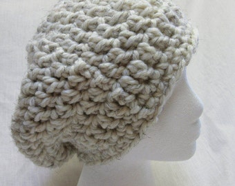 White Wool Slouchy Hat, Cap, Dreadlocks, Chunky, Beanie, Big Hair, Crochet knit, Mans Womans Trending, Bohemian, Oversize, Large Beret New