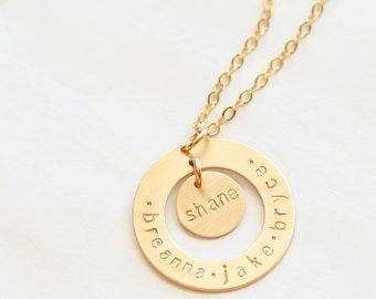 Personalized Open Circle Gold Filled Washer and Disc Pendant and Necklace - Hand Stamped