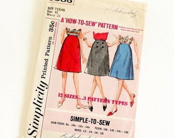 SALE Vintage 1960s Girls Size 8 Sub-Teen Knee Length A-line Skirt Simplicity 5583 Sewing Pattern Complete, w23""