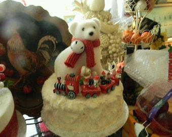 Stunning Ooak Faux/Fake Polar Bear Express Cake