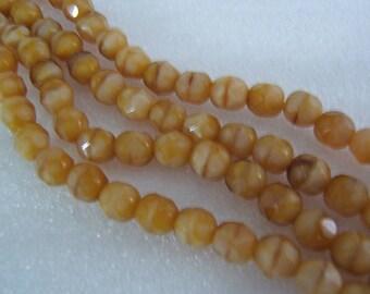 25 - Yummy Butterscotch Faceted Rounds 6mm Czech Glass Beads
