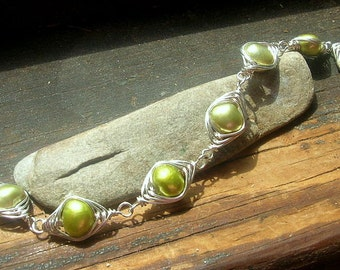 Spring Green Freshwater Pearl and Sterling Silver Herringbone Weave bracelet  wire wrapped bracelet chartreuse freshwater pearls