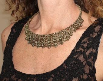 Bib necklace statement Short necklace with czech crystal choker black color czech crystal and bronze choker